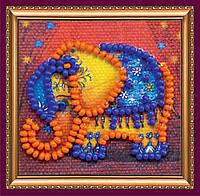 """Набор мини-магнит для вышивания бисером АММ-049 """"Оранжевый слоник"""" (холст)"""