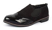 Ботинки челси женские на резинках черные La Bottine лаковый носочек, Черный, 36