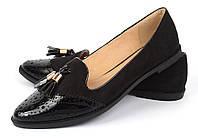 Туфли женские лоуферы черные с кисточками лаковый носок Victoria, Черный, 36