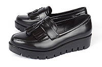 Туфли лоуферы женские черные на платформе Jimmy с кисточками, Черный, 36