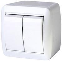Выключатель двухклавишный e.aqua.1112.gr для внешнего монтажа, IP44