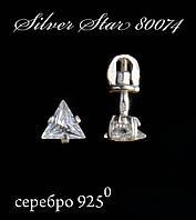Серьги гвоздики пусеты серебро с камнем Тріада, Белый