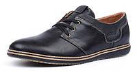 Туфли мужские кожаные Ecco черные на шнуровке, Черный, 45