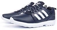 Кроссовки мужские кожаные Adidas ZX Flux Torsion темно синие, Синий, 46