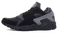 Кроссовки мужские кожаные Nike Huarache black&gray черные c серым, Черный, 45