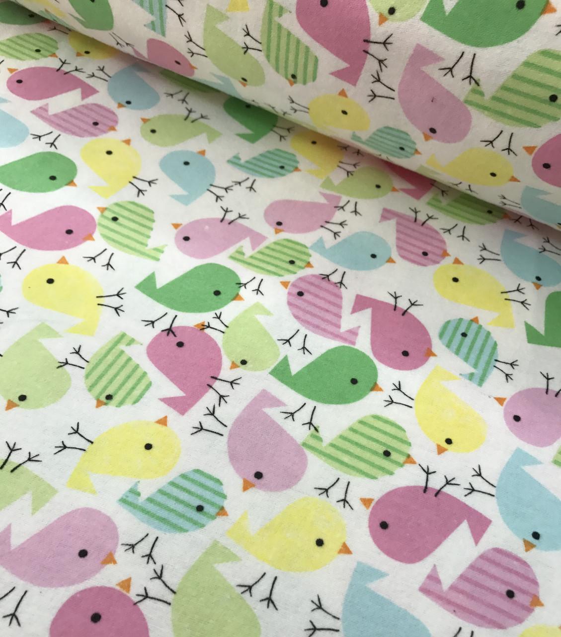 Фланель детская птички розовые, желтые, салатовые на белом №457