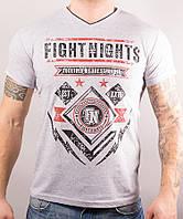 Футболка мужская хлопковая Fight Nights серая, Серый, M