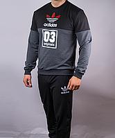 Спортивный мужской костюм Adidas originals черный с серым на манжетах, Черный, M