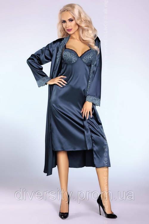 Атласный халат Yasmeen Livia Corsetti L/XL, синий