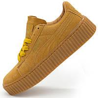 Женские желтые кеды Puma Rihanna (Пума Рианна) р.(37, 38, 39)