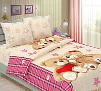 Ткань для детского постельного белья, бязь Мишки Тедди компаньон (бежевая ткань со звездами))