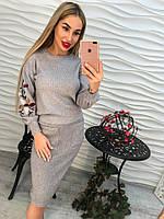 Женский теплый костюм с вышивкой (3 цвета) серый
