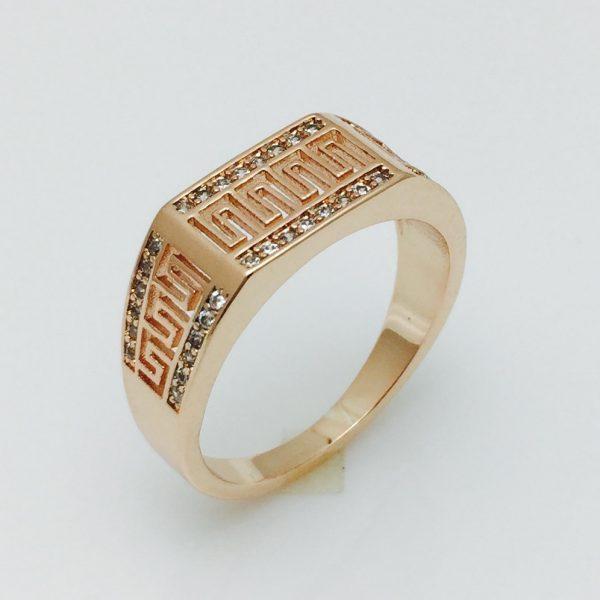 Женское кольцо Греческий рисунок, размер 17 ювелирная бижутерия