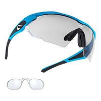 Очки HQBC QX3 оправа синий/черный, линзы фотохромные, +диоптрич вставка Clip-on