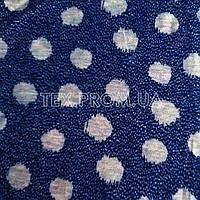 Трикотажное полотно стрейч кулир (кулирная гладь) хб/эл пенье 30/1, набивка меланж на синем