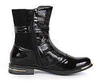 Сапоги женские черные лакированный носок на молнии Butterfly, Черный, 40