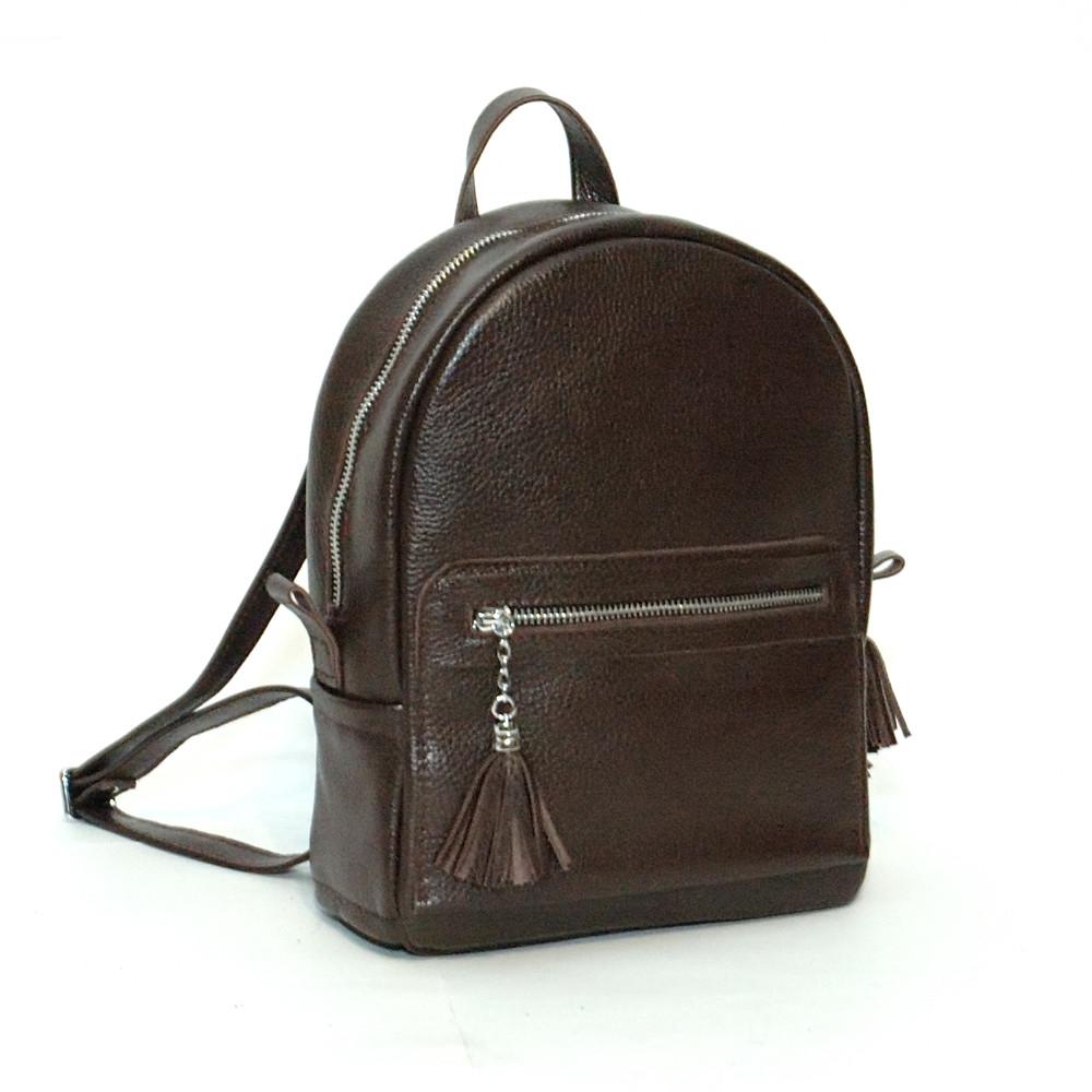 Женский кожаный рюкзак 02 черный шоколад с кистями 02020106