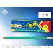 Карандаши чернографитные пластиковые TUKZAR TZ-855 с ластиком, фото 2