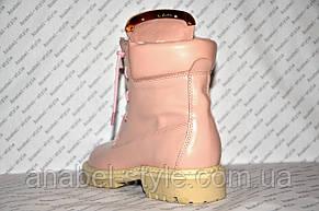 Ботиночки женские стильные Balmain Paris натуральная кожа розового цвета, фото 3