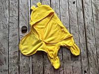 Универсальный махровый спальник-конверт 0-6 м желтый