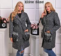 Пальто женское букле на подкладке + мех