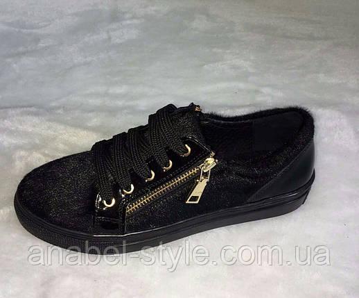 Кеди жіночі чорного кольору на шнурівці і змійці, фото 2