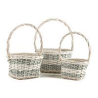 Набор плетеных корзинок 3 шт. из натуральной лозы