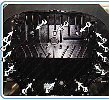 Защита двигателя Volkswagen Caddy (с 2010--) 1,2 / 1,6 / 2.0 Полигон-Авто