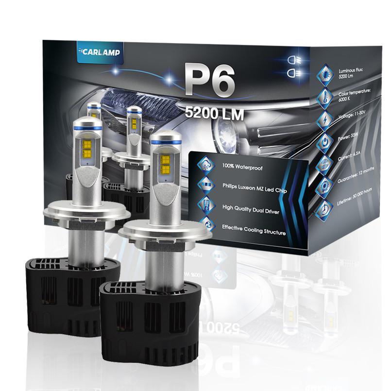Автомобильные светодиодные лампы H4 CARLAMP 5200 Lm 6000К для линзованной оптики P6 (P6H4)