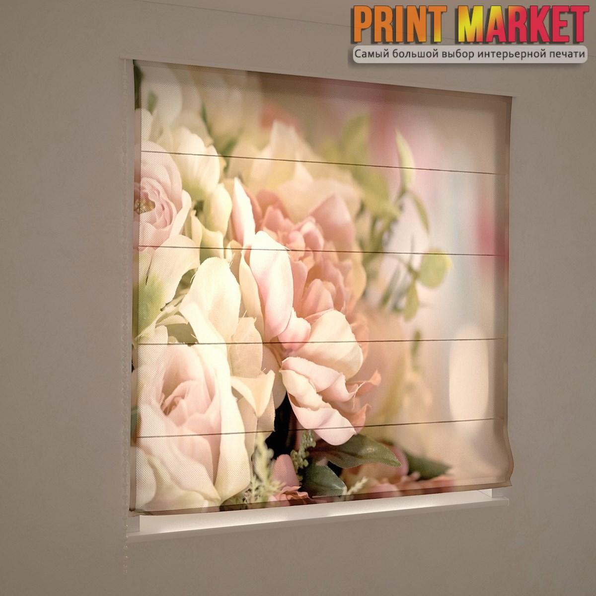 Фотошторы римские бежево-розовые цветы