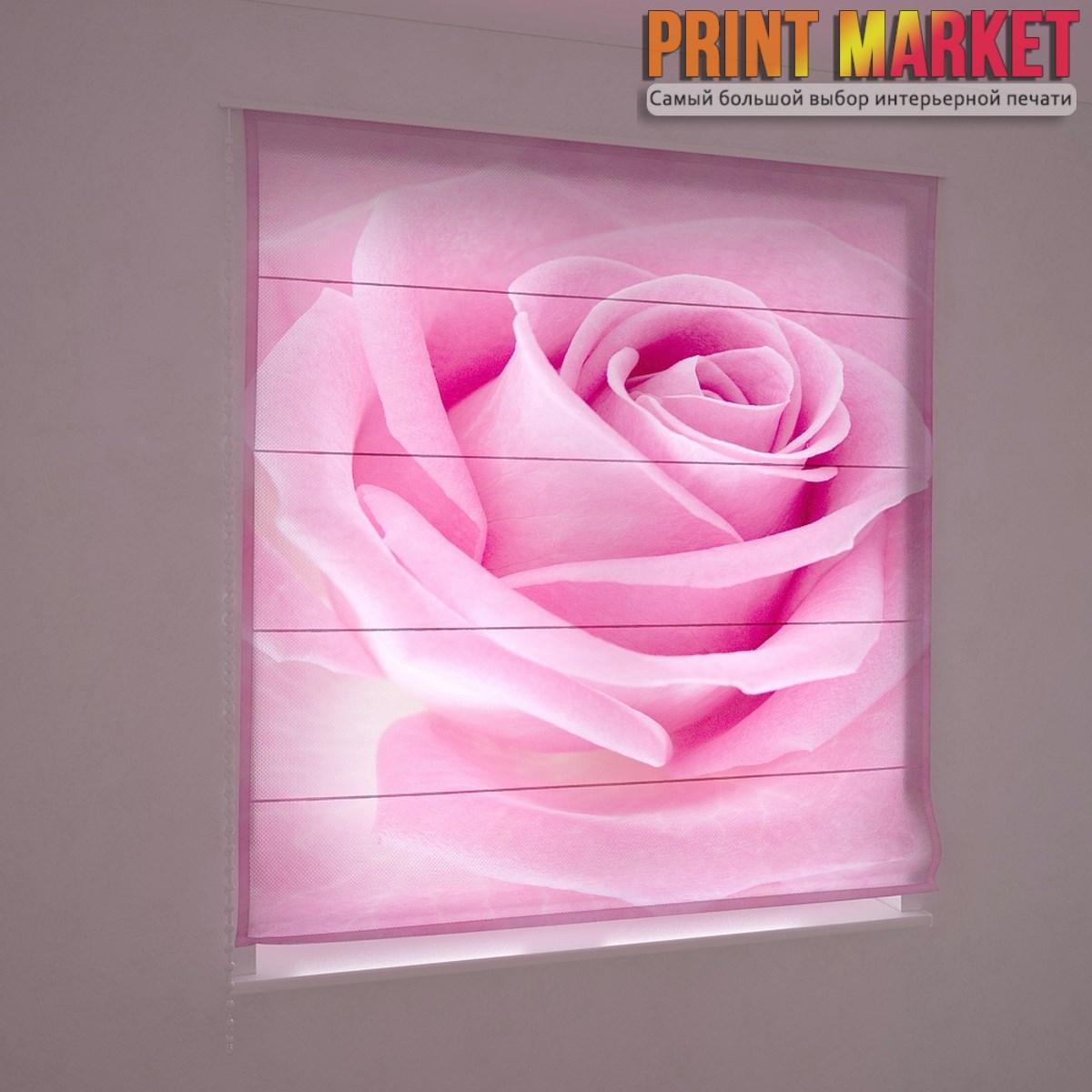 Фотошторы римские макро розовая роза