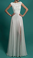 Элегантное длинное свадебное платье с открытой спиной и разрезом на ноге СВ-22588