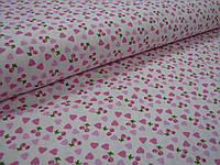 Сатин (хлопковая ткань)на розовом фоне вишенки