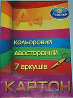 Картон цветной А4 Тетрадь двухсторонняя, 7 листов, 7 цв., 491500