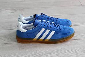 Мужские замшевые кроссовки Adidas Gazelle синие (реплика)
