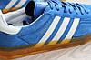 Мужские замшевые кроссовки Adidas Gazelle синие (реплика), фото 3