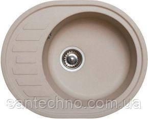 Гранітна овальна мийка для кухні Argo Ovale Sahara 620*500*200