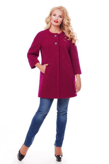 Женское пальто из букле / размер 50-52 / цвет вишня большие размеры