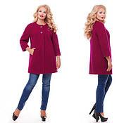 Женское пальто из букле / размер 50-52 / цвет вишня большие размеры, фото 5
