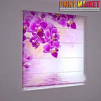 Фотошторы римские фиолетовая орхидея 3D