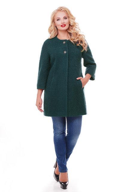 Женское пальто из букле / размер 50-52 / цвет бутылочный большие размеры