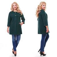 Женское пальто из букле / размер 50-52 / цвет бутылочный большие размеры, фото 5