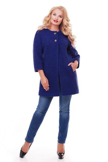 Женское пальто из букле / размер 50-52 / цвет кобальт большие размеры