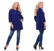 Женское пальто из букле / размер 50-52 / цвет кобальт большие размеры, фото 5