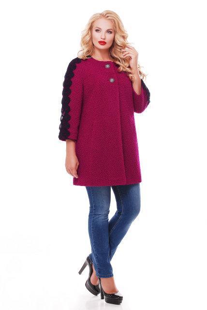 Женское пальто из букле с кружевом / размер 50-52 / цвет вишня большие размеры