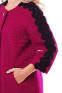 Женское пальто из букле с кружевом / размер 50-52 / цвет вишня большие размеры, фото 5