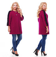 Женское пальто из букле с кружевом / размер 50-52 / цвет вишня большие размеры, фото 6