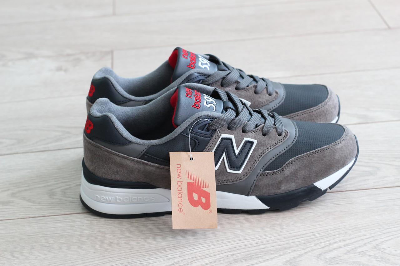 Мужские замшевые кроссовки New Balance 597 темно-серые (реплика)