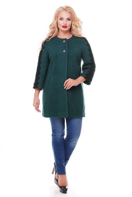 Женское пальто из букле с кружевом / размер 50-52 / цвет бутылочный большие размеры