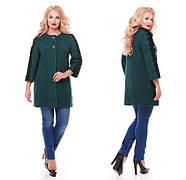 Женское пальто из букле с кружевом / размер 50-52 / цвет бутылочный большие размеры, фото 5